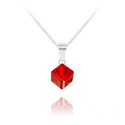 Collier Cube 6MM en Argent et Cristal Rouge Light Siam