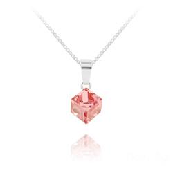 Collier Cube 6MM en Argent et Cristal Rose