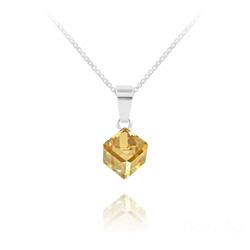 Collier Cube 6MM en Argent et Cristal Champagne