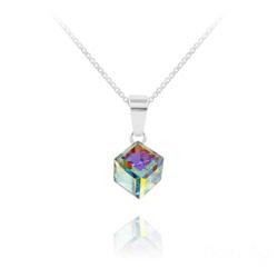 Collier Cube 6MM en Argent et Cristal Aurore Boréale