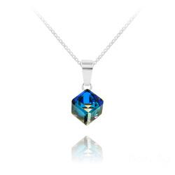 Collier Cube 6MM en Argent et Cristal Bleu Bermude