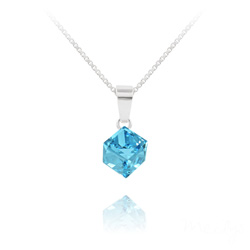 Collier Cube 6MM en Argent et Cristal Bleu