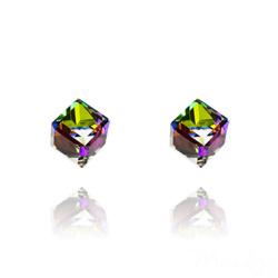 Clous d'Oreilles Cube 6MM en Argent et Cristal Vitrail Medium
