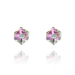 Clous d'Oreilles Cube 6MM en Argent et Cristal Vitrail Light