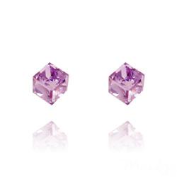 Clous d'Oreilles Cube 6MM en Argent et Cristal Violet