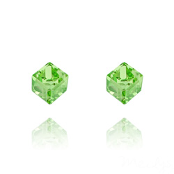Clous d'Oreilles en Cristal et Argent Clous d'Oreilles Cube 6MM en Argent et Cristal Vert Péridot