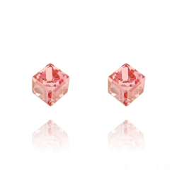 Clous d'Oreilles Cube 6MM en Argent et Cristal Rose