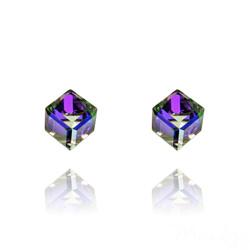 Clous d'Oreilles Cube 6MM en Argent et Cristal Heliotrope