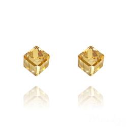 Clous d'Oreilles Cube 6MM en Argent et Cristal Champagne
