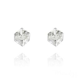 Clous d'Oreilles Cube 6MM en Argent et Cristal Blanc