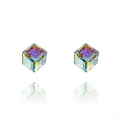 Clous d'Oreilles Cube 6MM en Argent et Cristal Aurore Boréale