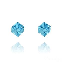 Clous d'Oreilles Cube 6MM en Argent et Cristal Bleu
