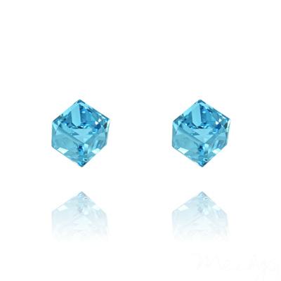 Clous d'Oreilles en Cristal et Argent Clous d'Oreilles Cube 6MM en Argent et Cristal Bleu