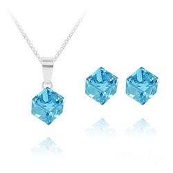 Parure Cube 6MM en Argent et Cristal Bleu