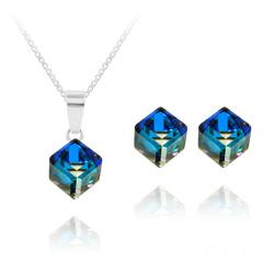 Parure Cube 6MM en Argent et Cristal Bleu Bermude