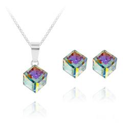 Parure Cube 6MM en Argent et Cristal Aurore Boréale