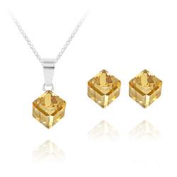 Parure Cube 6MM en Argent et Cristal Champagne