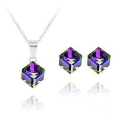 Parure Cube 6MM en Argent et Cristal Heliotrope