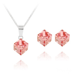 Parure Cube 6MM en Argent et Cristal Rose