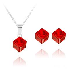 Parure Cube 6MM en Argent et Cristal Rouge Light Siam