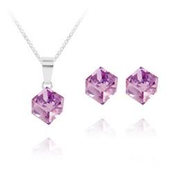 Parure Cube 6MM en Argent et Cristal Violet