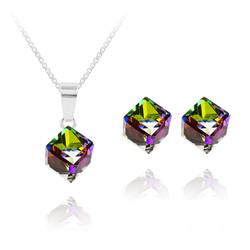 Parure Cube 6MM en Argent et Cristal Vitrail Medium
