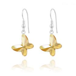 Boucles d'Oreilles Papillon en Argent et Cristal Champagne