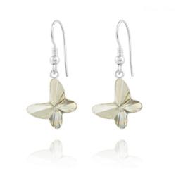 Boucles d'Oreilles en Cristal et Argent Boucles d'Oreilles Papillon en Argent et Cristal Silver Shade