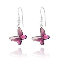 Boucles d'Oreilles Papillon en Argent et Cristal Améthyste