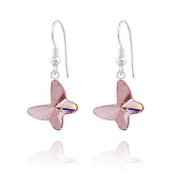 Boucles d'Oreilles Papillon en Argent et Cristal Light Rose