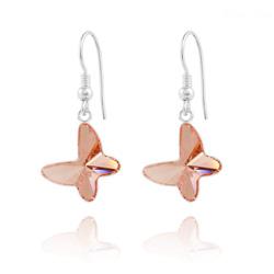 Boucles d'Oreilles Papillon en Argent et Cristal Rose Pêche