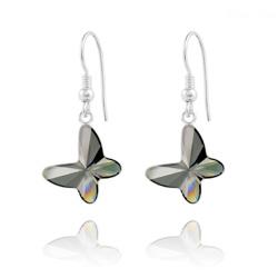 Boucles d'Oreilles Papillon en Argent et Cristal Silver Night