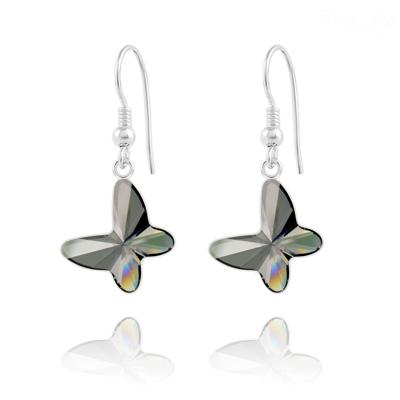 Boucles d'Oreilles en Cristal et Argent Boucles d'Oreilles Papillon en Argent et Cristal Silver Night
