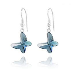 Boucles d'Oreilles en Cristal et Argent Bucles d'Oreilles Papillon en Argent et Cristal Denim Blue