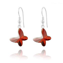 Boucles d'Oreilles en Cristal et Argent Boucles d'Oreilles Papillon en Argent et Cristal Red Magma
