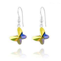 Boucles d'Oreilles Papillon en Argent et Cristal Aurore Boréale