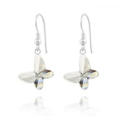 Boucles d'Oreilles en Cristal et Argent Boucles d'Oreilles Papillon en Argent et Cristal Blanc