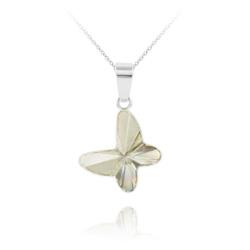 Collier Papillon en Argent et Cristal Silver Shade