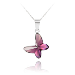 Collier Papillon en Argent et Cristal Améthyste
