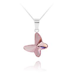 Collier Papillon en Argent et Cristal Light Rose