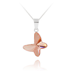 Collier Papillon en Argent et Cristal Rose Peach