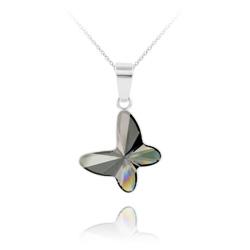 Collier Papillon en Argent et Cristal Silver Night