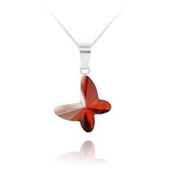 Collier Papillon en Argent et Cristal Red Magma