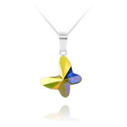 Collier Papillon en Argent et Cristal Aurore Boréale