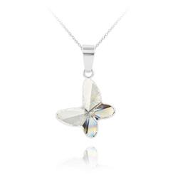 Collier Papillon en Argent et Cristal Blanc