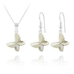 Parure Papillon en Argent et Cristal Silver Shade