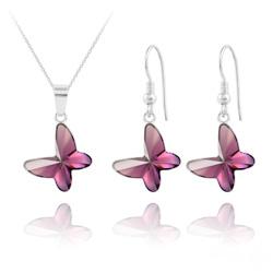 Parure Papillon en Argent et Cristal Améthyste