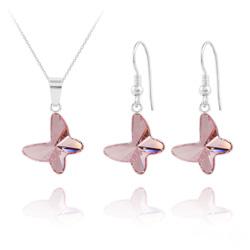 Parure Papillon en Argent et Cristal Light Rose