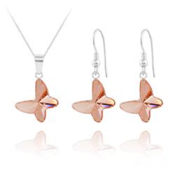 Parure Papillon en Argent et Cristal Rose Peach
