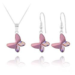 Parure Papillon en Argent et Cristal Rose Antique